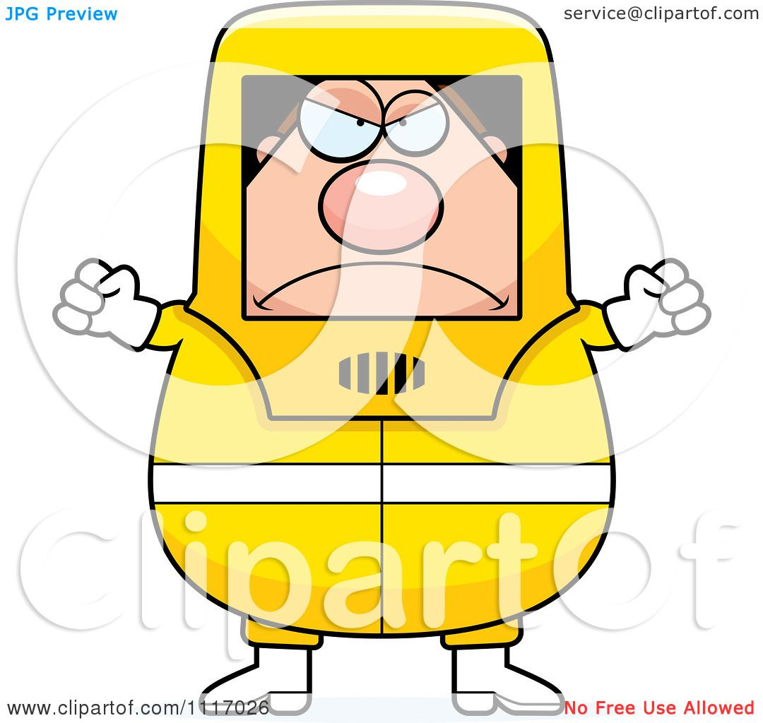 Vector Cartoon Angry Hazmat Hazardous Materials Removal Worker ...