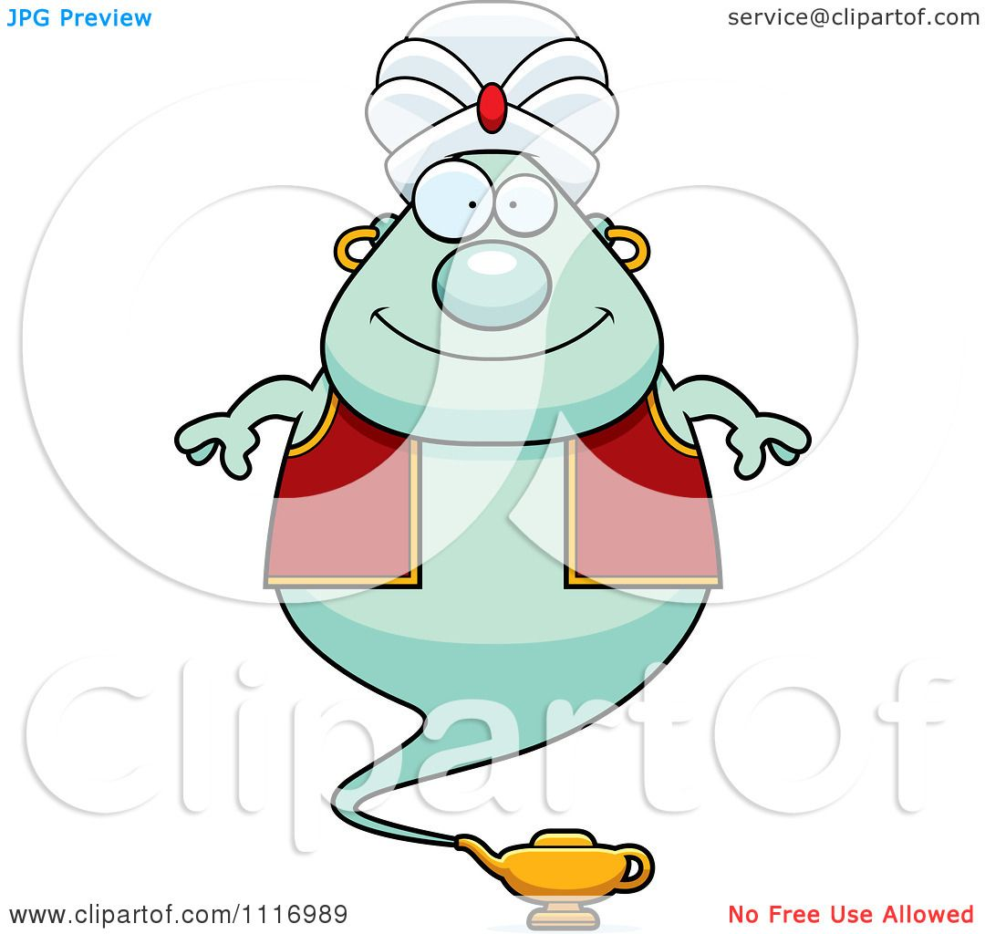 Vector Cartoon Happy Chubby Green Genie - Royalty Free Clipart ...