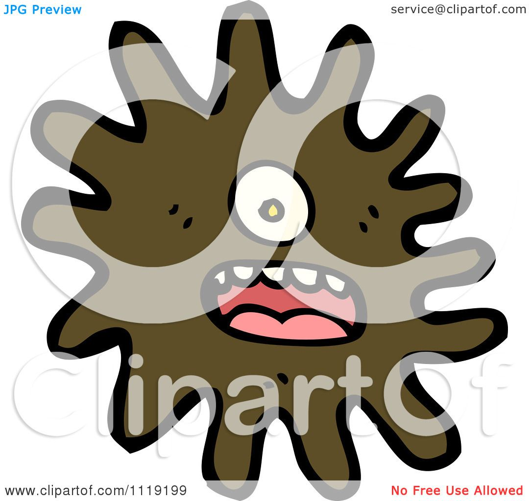 Vector cartoon of a brown virus germ bacteria 1 royalty free clipart