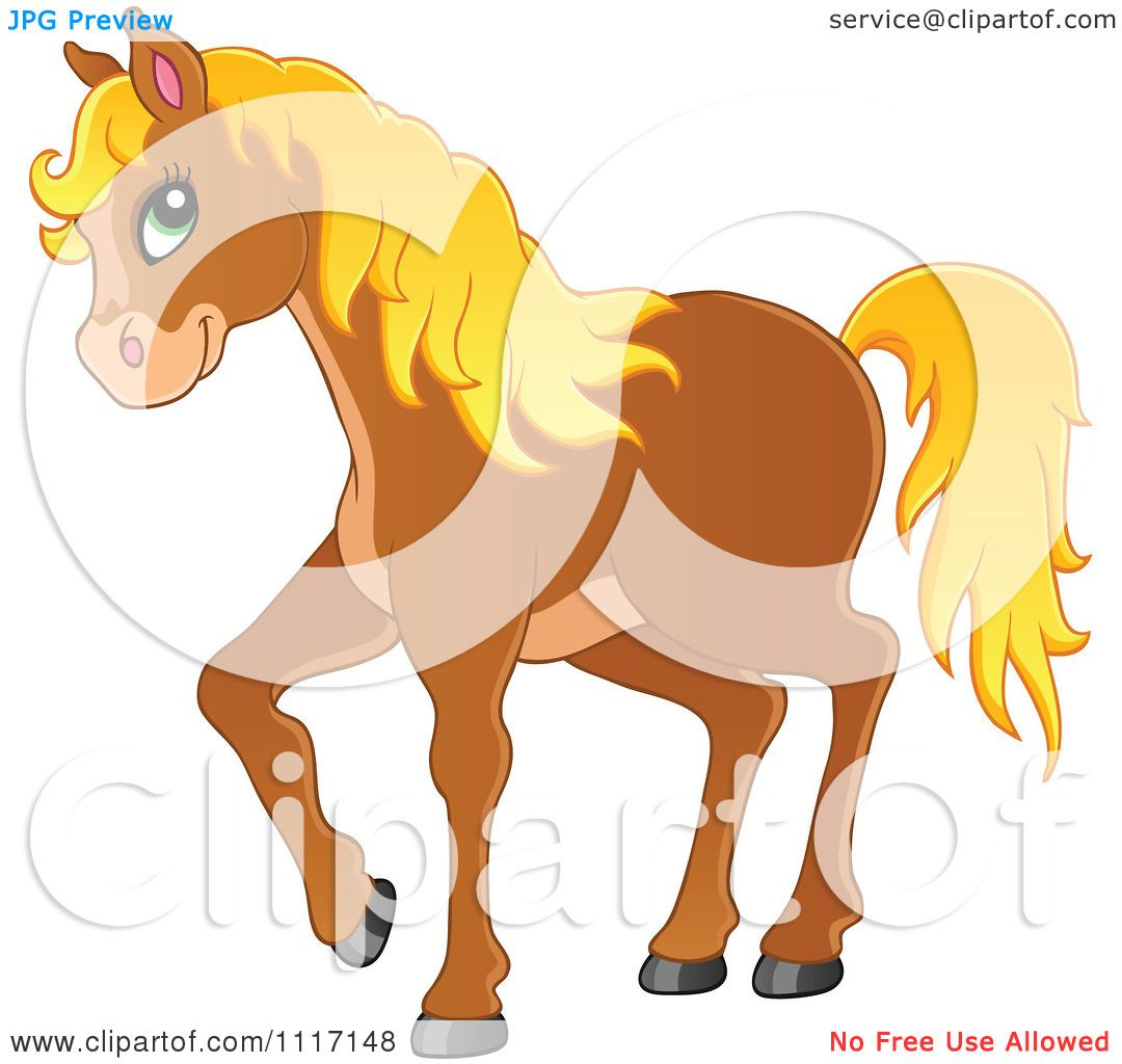 Vector Cartoon Of A Cute Brown Horse With A Blond Mane - Royalty ...