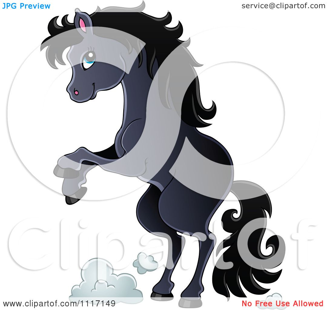 vector cartoon of a cute rearing black horse royalty free