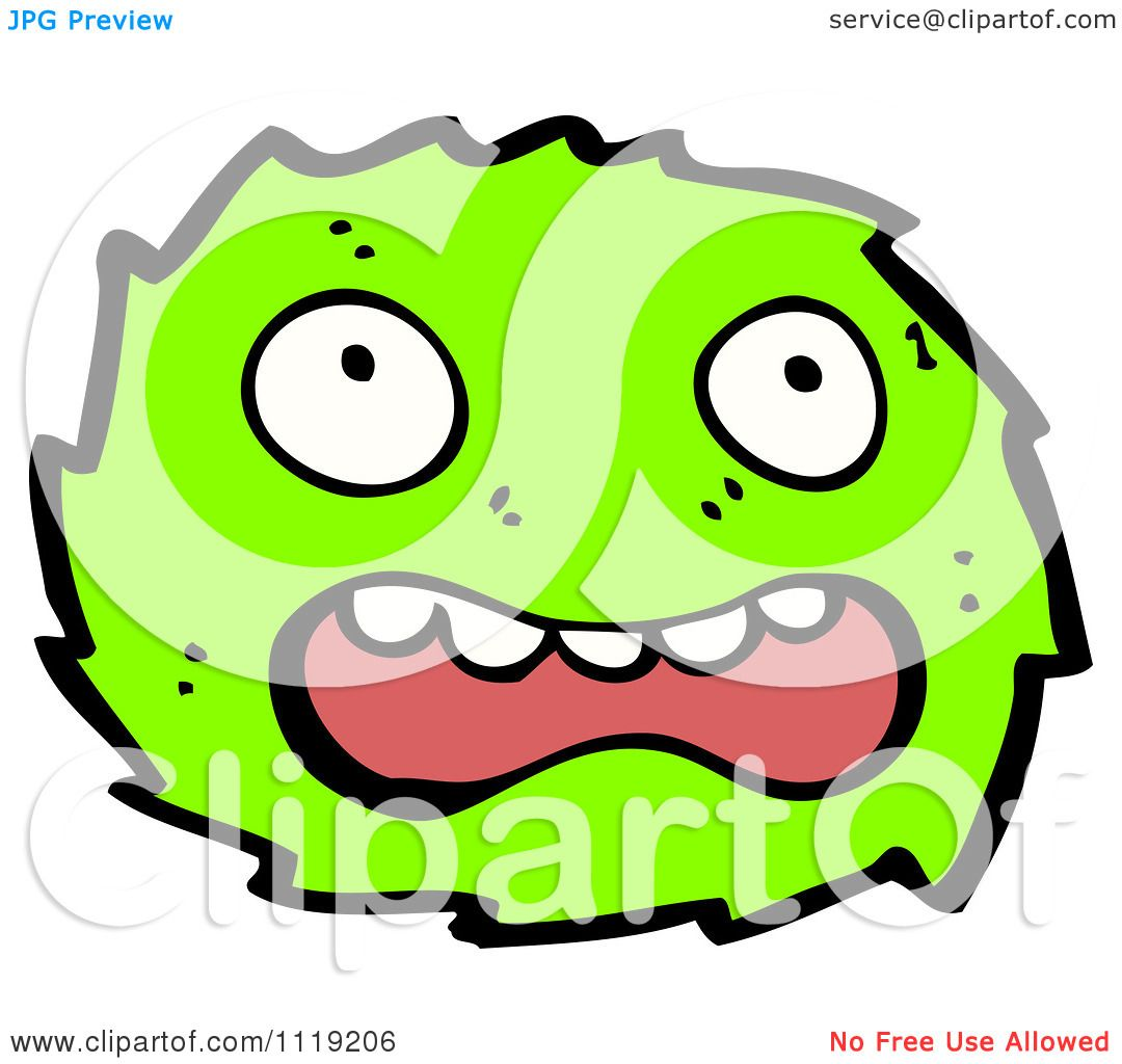 Vector cartoon of a green virus germ bacteria 1 royalty free clipart