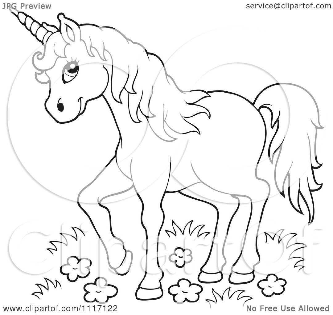 vector cartoon of an outlined unicorn in wild flowers and grass