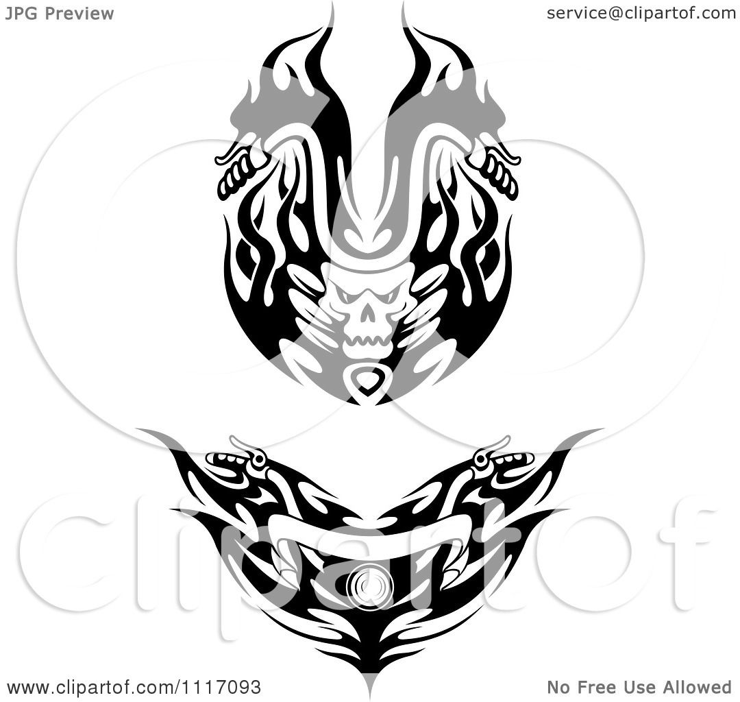 Vector Clipart Black And White Flaming Skull And Flame