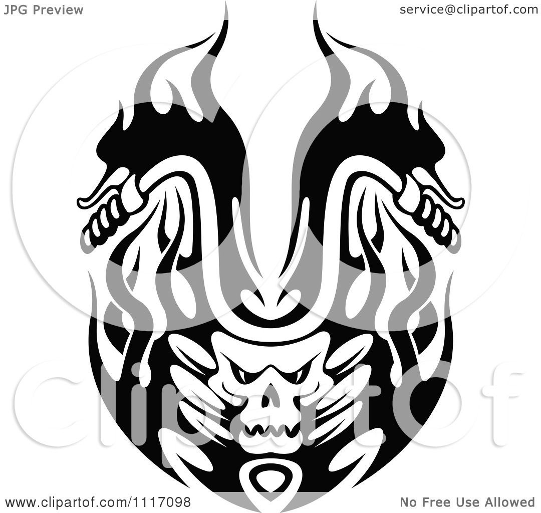 Motorcycle clip art with flames - Vector Clipart Black And White Flaming Skull Motorcycle Biker Handlebars 2 Royalty Free Graphic Illustration