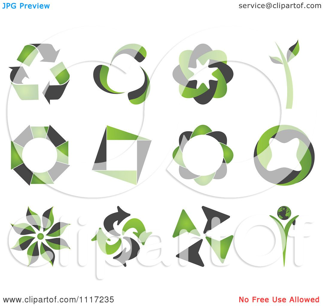 Vector Clipart Of Green And Black Green Energy Recycle Icons ...