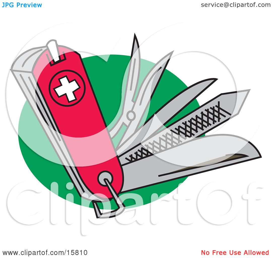 Very Useful Swiss Army Knife With Different Tools Clipart
