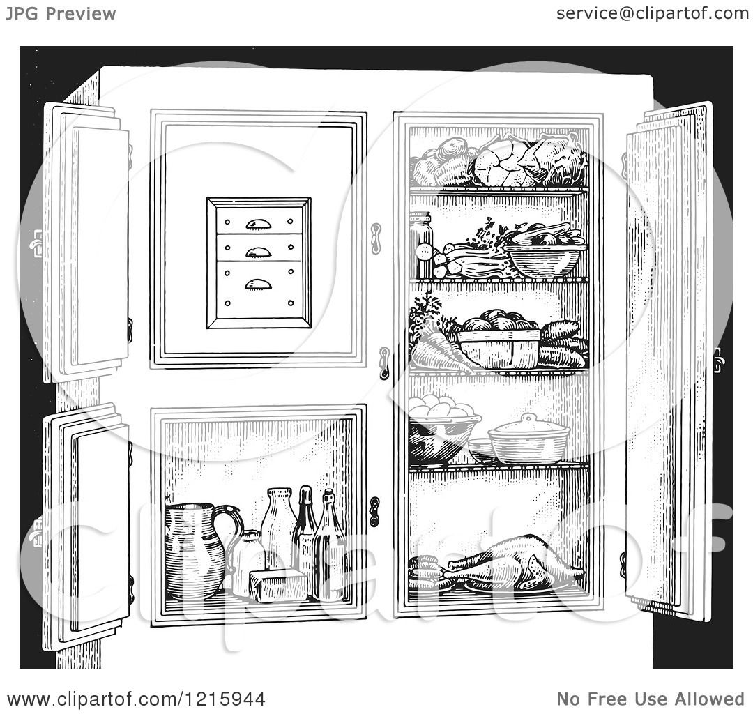 refrigerator clipart black and white. vintage clipart of a retro antique refrigerator with food, in black and white - royalty free vector illustration by picsburg