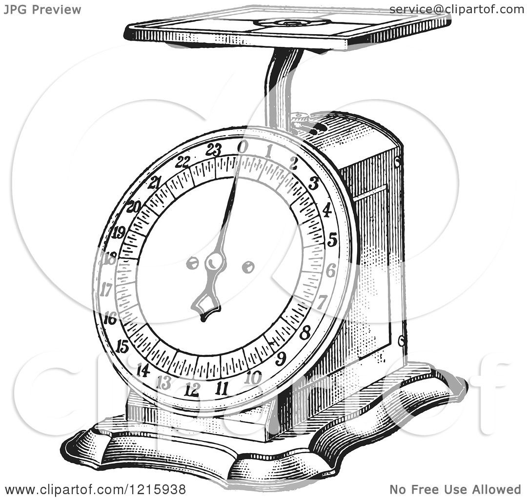 Vintage Clipart Of A Retro Kitchen Scale In Black And
