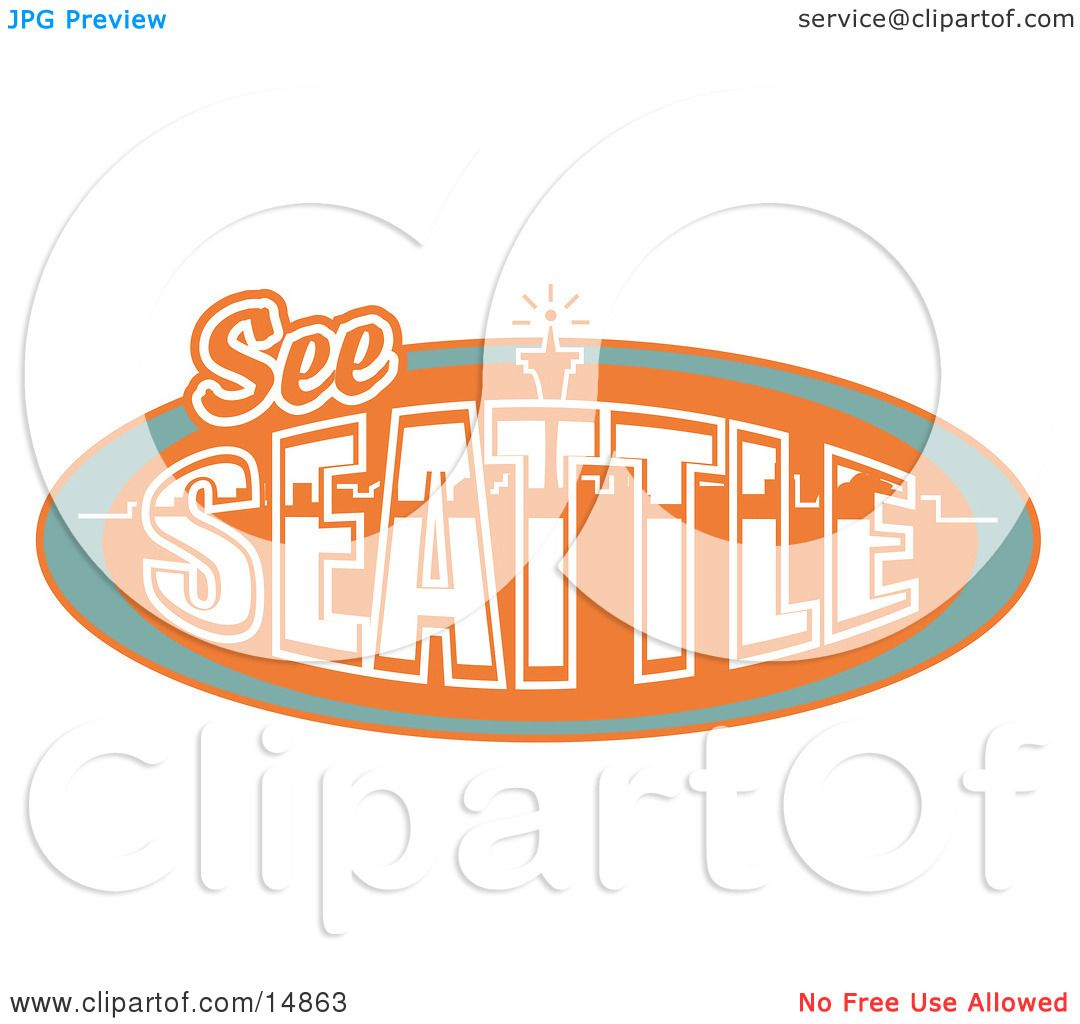 vintage see seattle sign with the space needle clipart illustration
