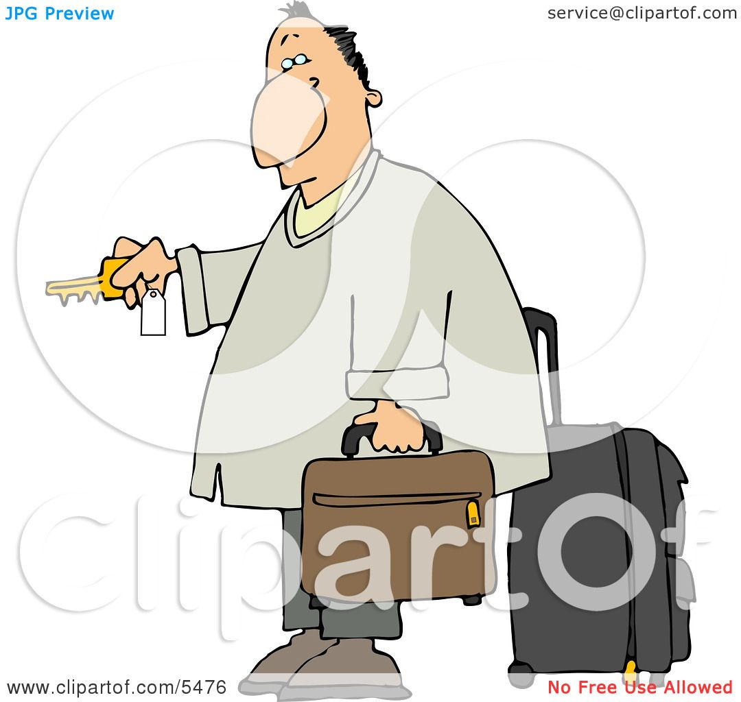 Weary Traveler Businessman Checking Into a Hotel Clipart