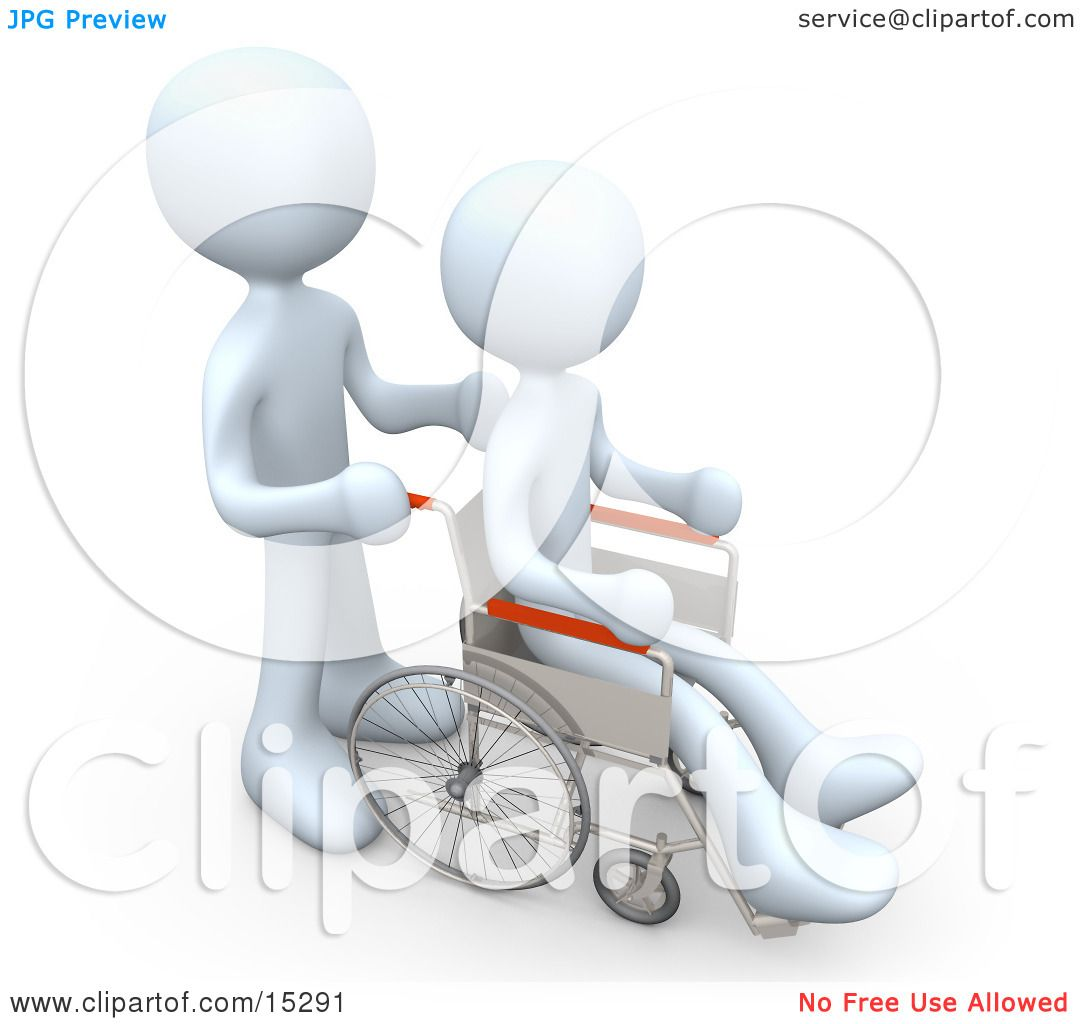 White Person Pushing Another Person In A Wheelchair In A