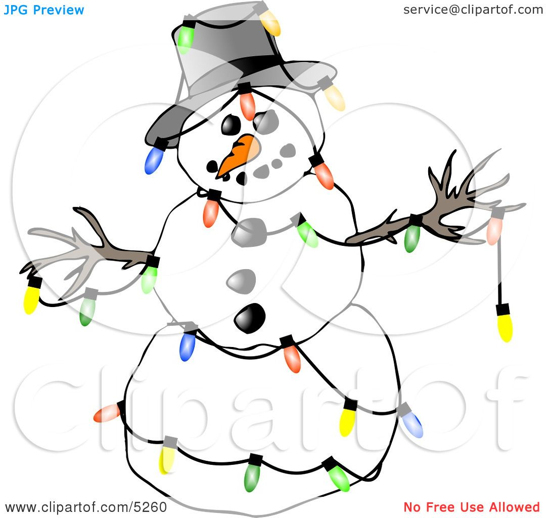 Winter Snowman Decorated with Colorful Christmas Tree ...