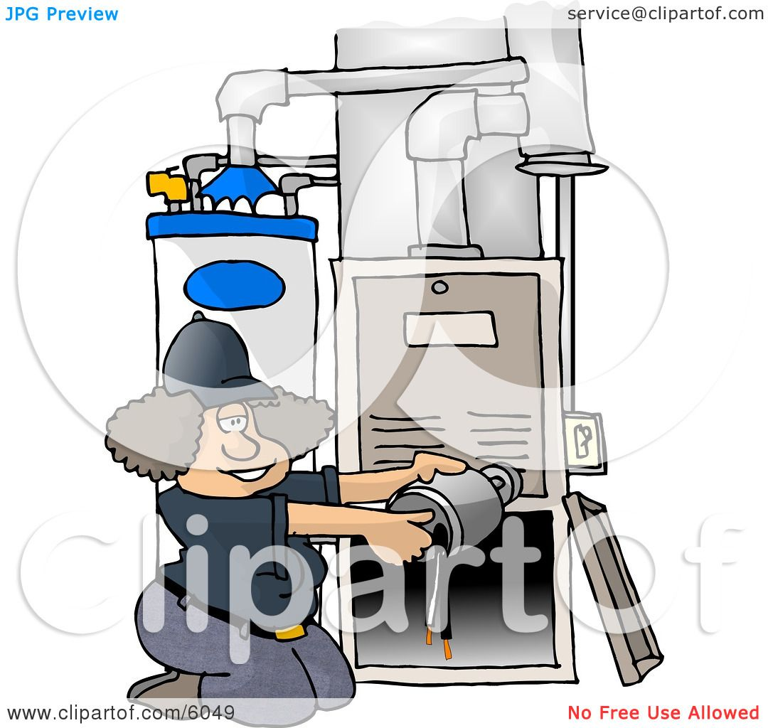 Woman Repairing a Broken Furnace Attached to a Water Heater Clipart ...