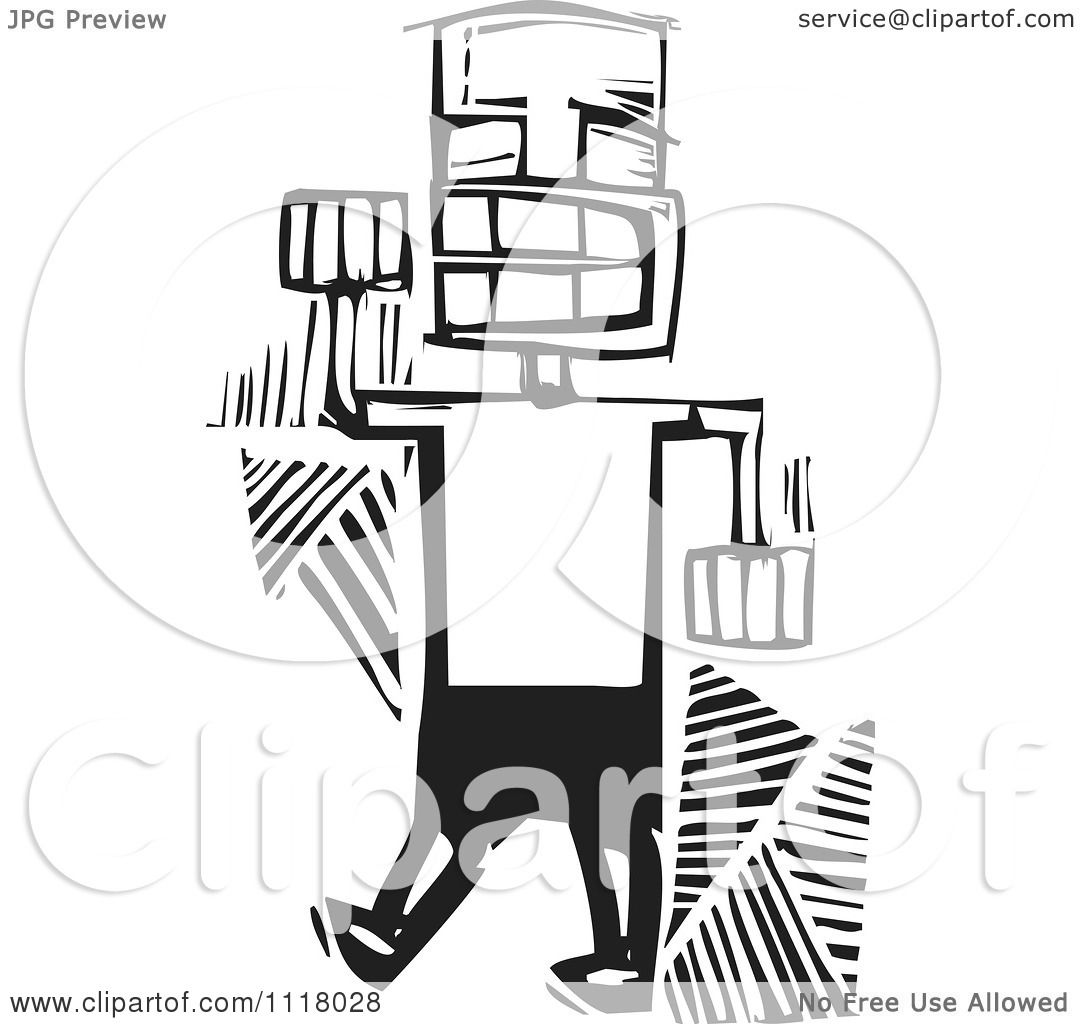Woodcut Clipart Of A Black And White Happy Man Dancing ...