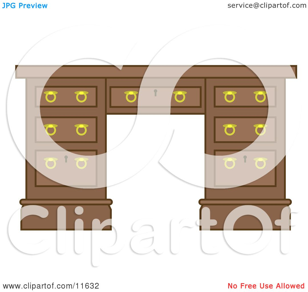 wooden office desk with drawers clipart illustration