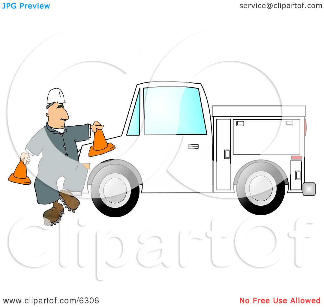 Worker Putting Out Cones Around His Utility Truck Clipart