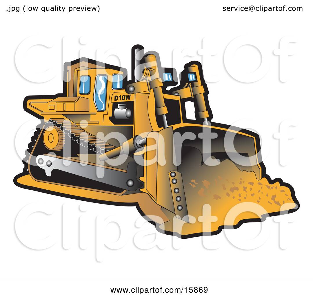 yellow bulldozer moving dirt at a construction site clipart illustration by andy nortnik 15869. Black Bedroom Furniture Sets. Home Design Ideas