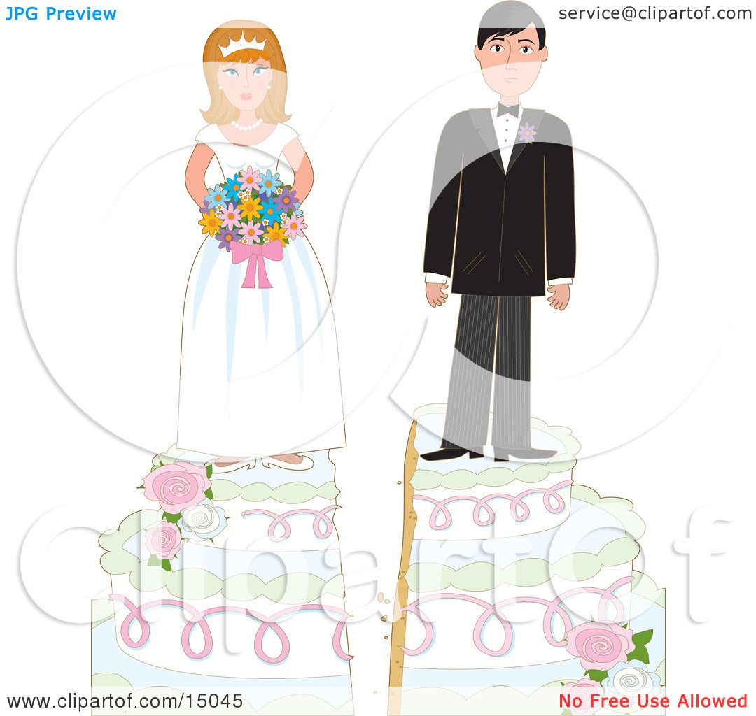 Young Bride And Groom On Top Of A Wedding Cake Split By