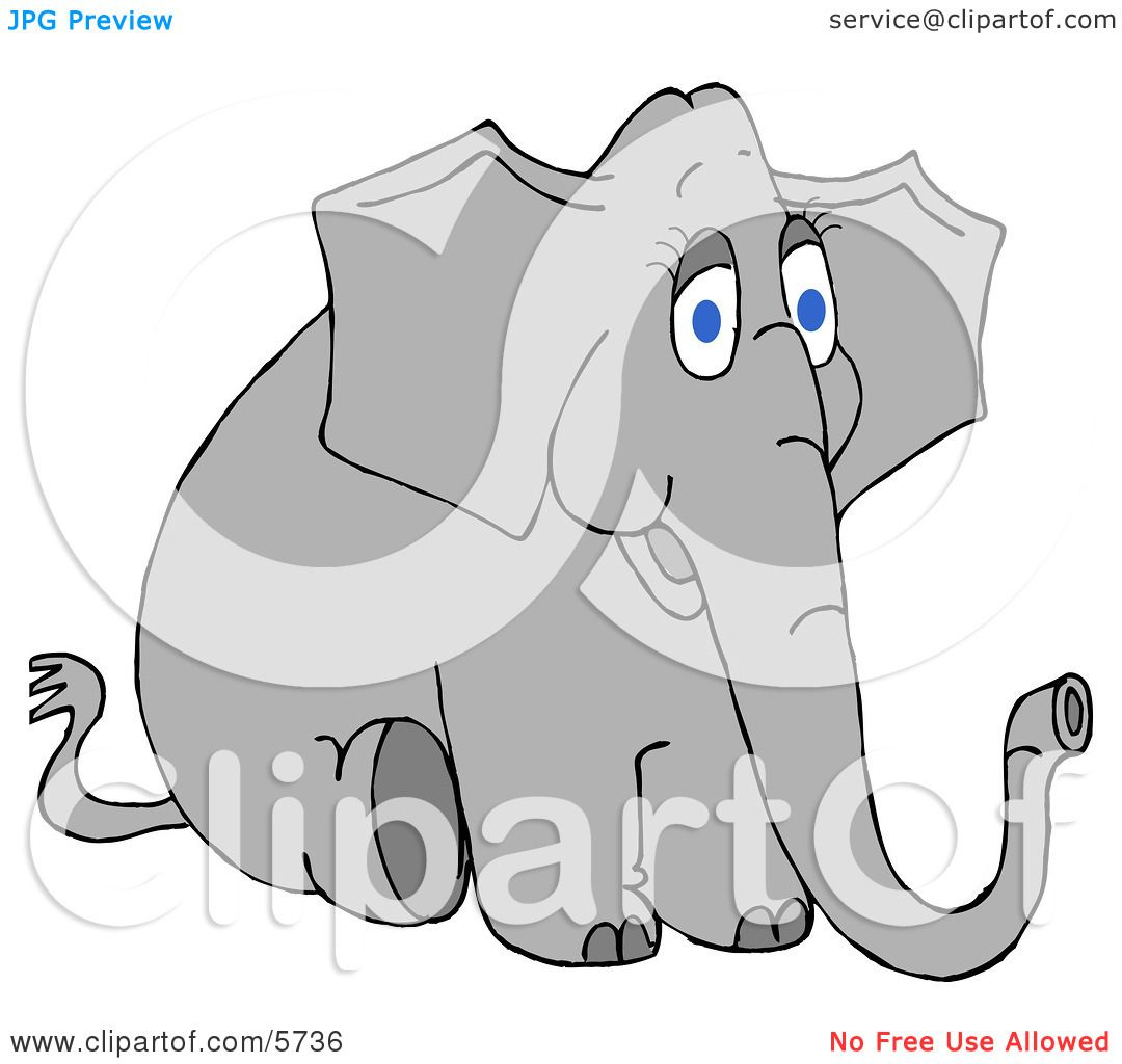 Young Female Elephant Sitting On the Ground Clipart ...