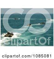 Amphibious Assault Vehicles Disembarking The Amphibious Dock Landing Ship Uss Carter Hall Free Stock Photography