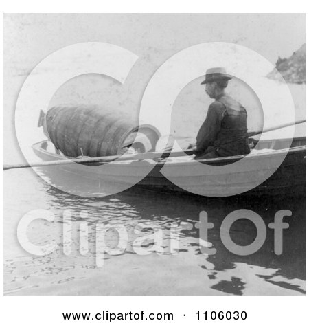 Annie Edson Taylor in a Barrel, Being Rowed to a Drop Off Point at Niagara - Royalty Free Historical Stock Photography by JVPD