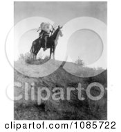 Apsaroke Man With Bow And Arrows On Horse Free Historical Stock Photography