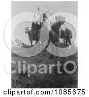 Apsaroke Men On Horses Holding Spears Free Historical Stock Photography