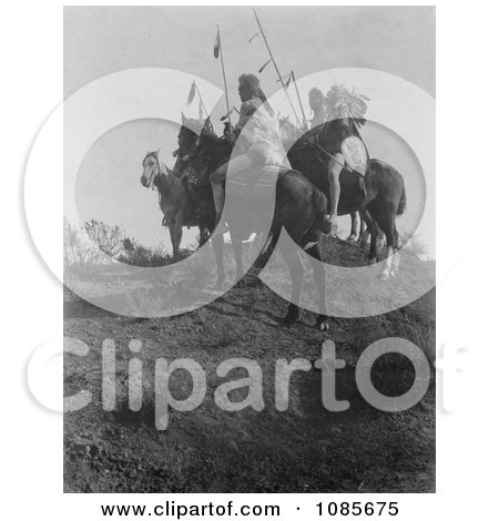 Apsaroke Men on Horses, Holding Spears - Free Historical Stock Photography by JVPD