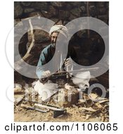 Arab Carpenter Man Smiling And Posing While Making Plows Royalty Free Historical Stock Photo by JVPD