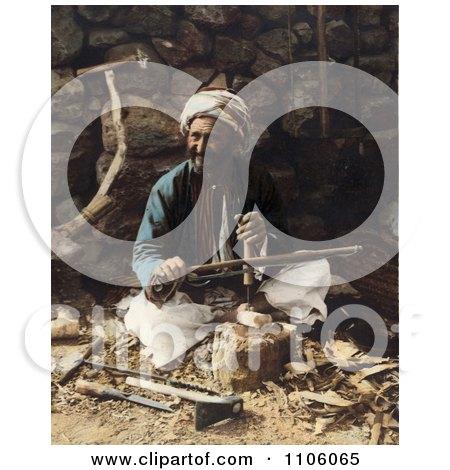 Arab Carpenter Man Smiling And Posing While Making Plows - Royalty Free Historical Stock Photo by JVPD