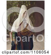 Arab Woman Wearing Dowry Necklace And Traditional Clothing Royalty Free Historical Stock Photo by JVPD