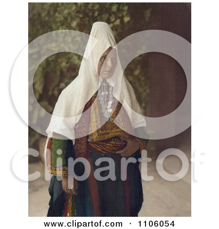 Arab Woman Wearing Dowry Necklace And Traditional Clothing - Royalty Free Historical Stock Photo by JVPD
