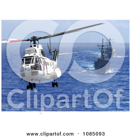 AS-332 Super Puma Helicopter Passing Above a Destroyer and Firgate - Free Stock Photography by JVPD
