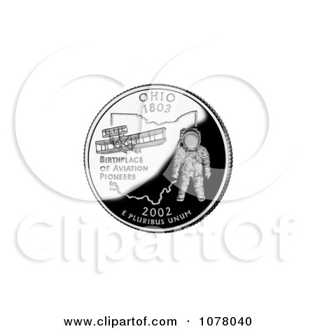 Astronaut and 1905 Flyer on the Ohio State Quarter - Royalty Free Stock Photography by JVPD