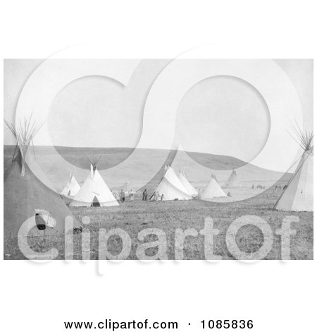 Atsina Camp With Tipis - Free Historical Stock Photography by JVPD