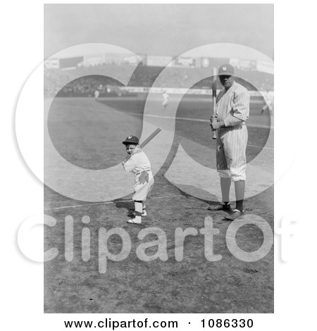 Babe Ruth and a Boy, Little Mascot, Posing With Bats on a Baseball Field - Free Historical Baseball Stock Photography by JVPD