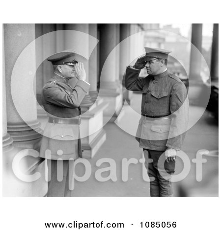 Babe Ruth And John J. Pershing In Uniforms, Saluting Each Other - Free Stock Photography by JVPD