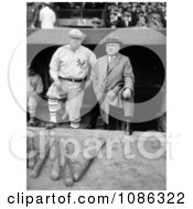 Babe Ruth In His New York Yankees Baseball Uniform Standing In The Dugout With John McGraw Free Historical Baseball Stock Photography by JVPD