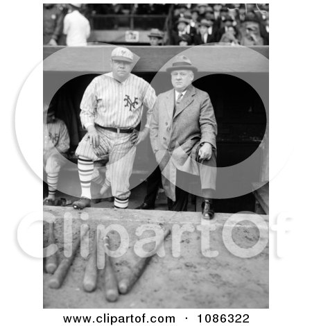 Babe Ruth In His New York Yankees Baseball Uniform, Standing In The Dugout With John McGraw - Free Historical Baseball Stock Photography by JVPD