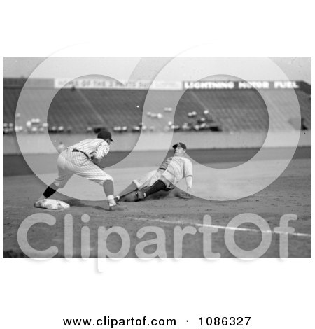 Babe Ruth Of The Yankees, Safe At Third In The Fourth Inning On Bob Musel's Fly Out, June 23rd 1925 - Free Historical Baseball Stock Photography by JVPD