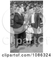 Babe Ruth Shaking Hands With Bill Edwardsband Standing With Their Mascot Free Historical Baseball Stock Photography