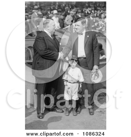 Babe Ruth Shaking Hands With Bill Edwardsband Standing With Their Mascot - Free Historical Baseball Stock Photography by JVPD
