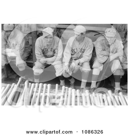 Babe Ruth Sitting In A Dugout With Bill Carrigan, Jack Barry, and Vean Gregg - Free Historical Baseball Stock Photography by JVPD