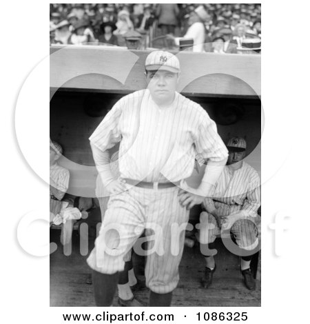 Babe Ruth Standing Near A Dugout, Posing In His New York Yankees Uniform - Free Historical Baseball Stock Photography by JVPD