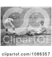 Baseball Player Sliding For Third Base As A Fielder Reaches For The Ball Free Historical Baseball Stock Photography by JVPD