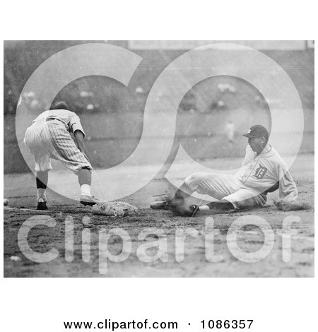 Baseball Player Sliding for Third Base as a Fielder Reaches for the Ball - Free Historical Baseball Stock Photography by JVPD