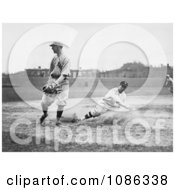 Baseball Player Sliding For Third Base As A Fielder Waits For The Ball Free Historical Baseball Stock Photography by JVPD