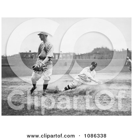 Baseball Player Sliding For Third Base as a Fielder Waits For the Ball - Free Historical Baseball Stock Photography by JVPD