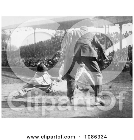 Baseball Umpire Prepared to Make the Call as a Catcher Tags a Runner - Free Historical Baseball Stock Photography by JVPD